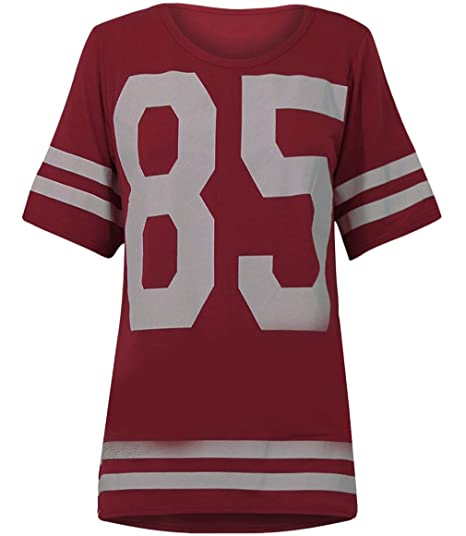 2aeca2453 Image Unavailable. Image not available for. Color  Womens Oversize 85  Football Style Jersey T-shirt (Sty) (4 6