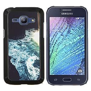 YiPhone /// Prima de resorte delgada de la cubierta del caso de Shell Armor - Río que fluye Blue Cave Art - Samsung Galaxy J1 J100
