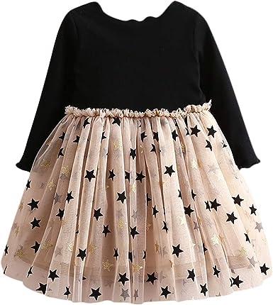 Vestido Tutú 3-8 Años para Bebé Malla Vestidos para Niñas Princesa Infantil Falda Tul Fiesta con Estrella Manga Larga Algodón Punto Lindo: Amazon.es: Ropa y accesorios