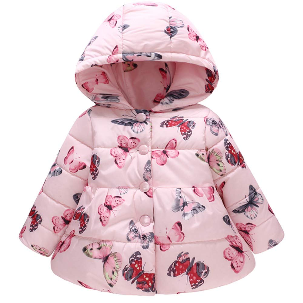 Felicy Infant Baby Girl Boy Winter Warm Butterfly Hooded Coats Jacket Kids Thick Windproof Hoodie Clothes Pink