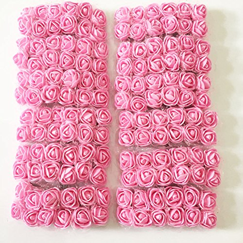 Pink Hat Box (Fake Rose Flower Heads Artfen 144pcs Mini Artificial Roses DIY Wedding Flowers Accessories Make Bridal Hair Clips Headbands Dress Approx 1 Inch Diameter (bottom add gauze) Pink)