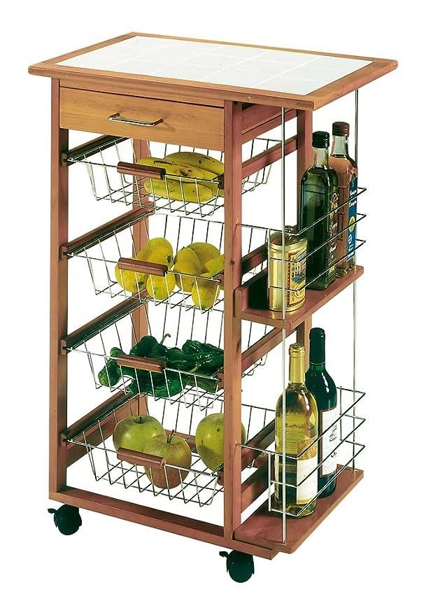 4 Baskets Metal Vegetable Rack with Wood Top Silver One Size Industrias Aldaya S.L
