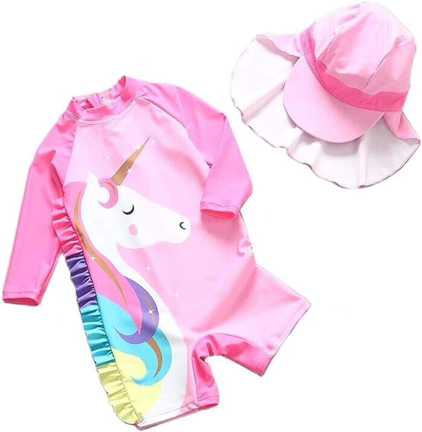 Sun Protection Baby Girl One-Piece Swim Suit Long Sleeve UPF 50