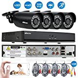 KKmoon 4ch Camera Security System 1080N CCTV Surveillance DVR Security System Onvif DVR+ 4pcs Bullet Camera + 460ft Cable support Infrared Night Vision Weatherproof Motion Detection Email Alarm