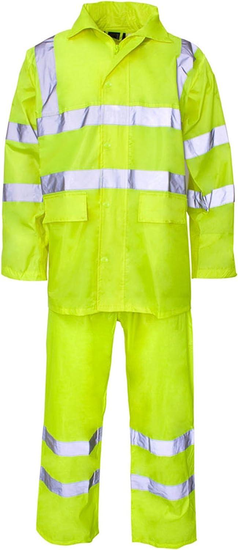 Forever Hi Viz Waterproof Rainsuit Set High Vis Visibility Jacket & Trouser: Clothing
