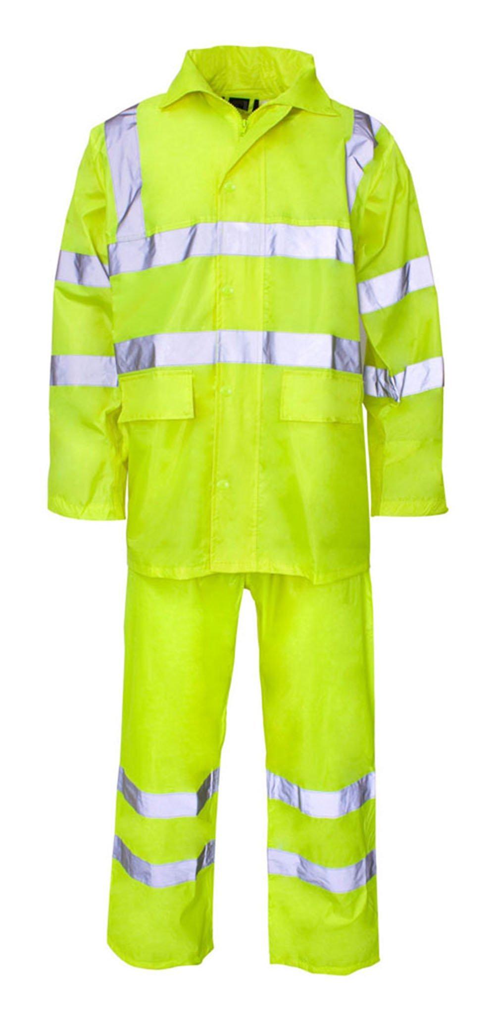 Forever Hi Viz Waterproof Rainsuit Set High Vis Visibility Jacket & Trouser
