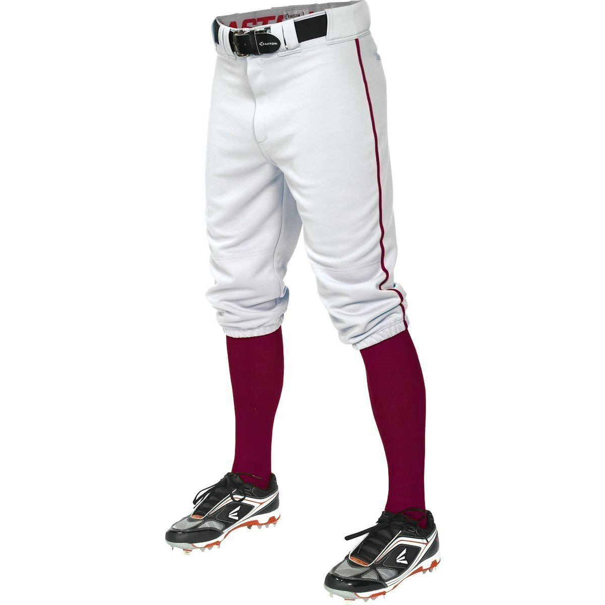 Easton Boy's Pro Knicker Pants Baseball Youth w/ Piping Short (White/Green, YL)