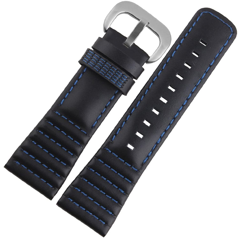 [エイト]腕時計ベルト 22mm ブラックブルーxシルバー レザー ELB190 [並行輸入品]  B01MSZR9E7