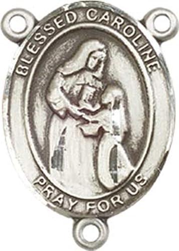 SAINT PEREGRINE Rhinestone Rosary Centerpiece Chaplet Center Piece Catholic Rosary Parts Silver Tone