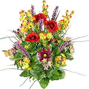 Artificial Dahlia, Morning Glory and Ranunculus and Blossom Fillers Mixed Bush - 30 Stems for Home, Wedding, Restaurant and Office Decoration Arrangement, Red/Orange/Yellow/Lilac 16