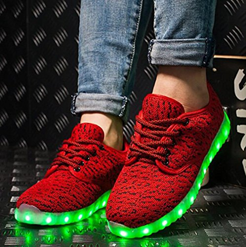 Pandabeauty Mens Womens Light Up Shoes LED Luminous Glowing Flashing Sneakers Red WJWar2L