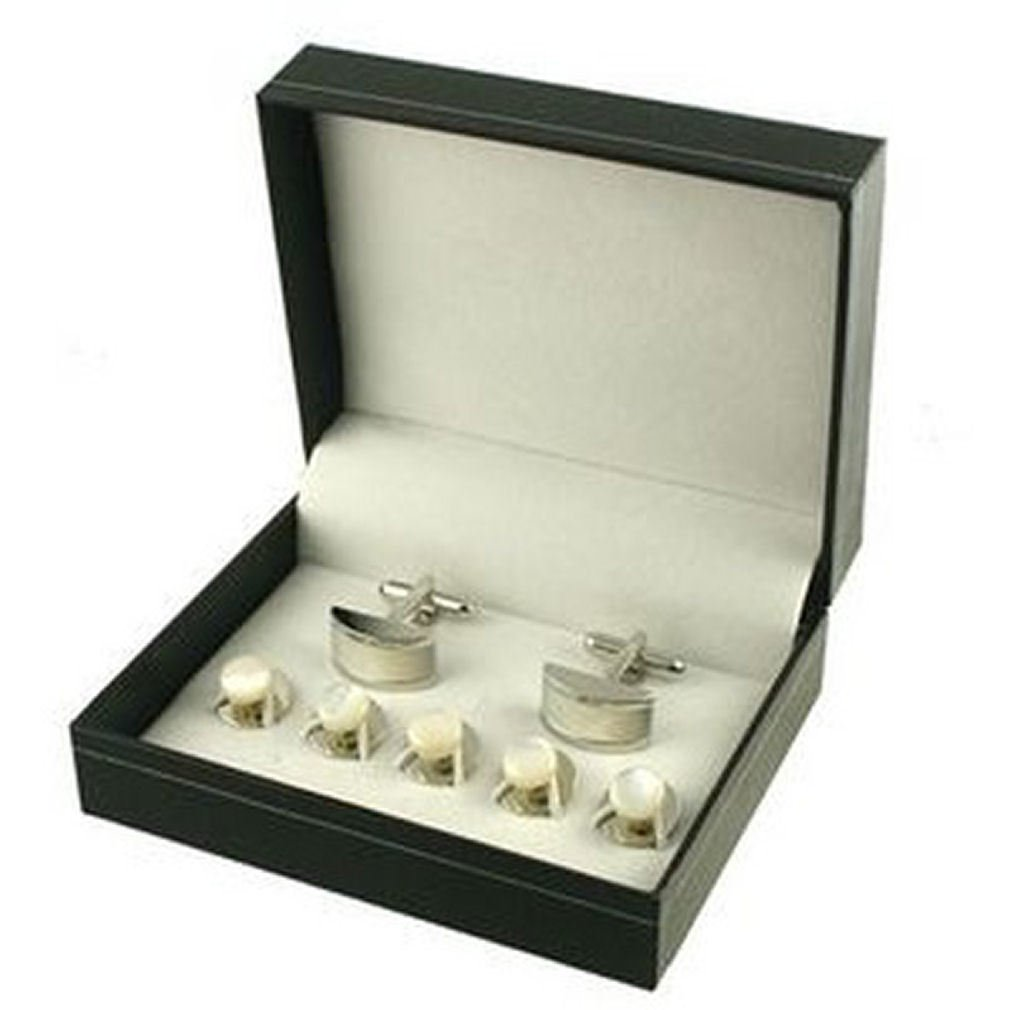 Presentation Cufflinks Set~Black Tie Cufflinks Gift Set 5 Pearl Studs & Cufflinks Boxed