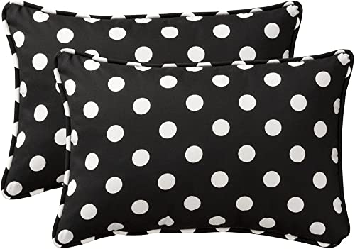 Pillow Perfect Decorative Black White Polka Dot Toss Pillow, Rectangle, 2-Pack