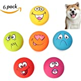 QISHENG TRADE 6 Pcs Teeth Play Squeaker Ball For Puppy Pet Dog Latex Toy with Squeaky Sound Fetch & Play