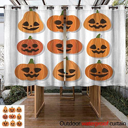 RenteriaDecor Home Patio Outdoor Curtain Cute Vector Set with Halloween Pumpkins W96 x L72 -