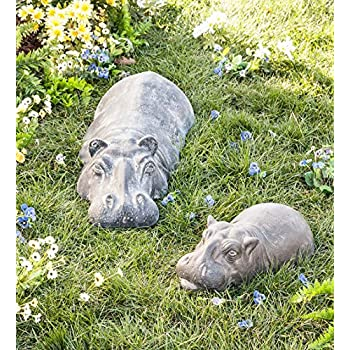 Wind & Weather Swimming Hippo Outdoor Garden Sculpture Yard Art Resin Animal Statue (Baby)