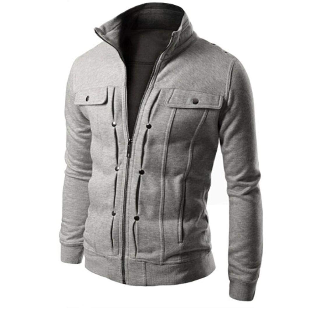 BaZhaHei Fashion Mens Slim Designed Stand Collar Cardigan Zipper Coat Winter Warm Jacket with Pockets Solid Pullovers Mens Casual Coat