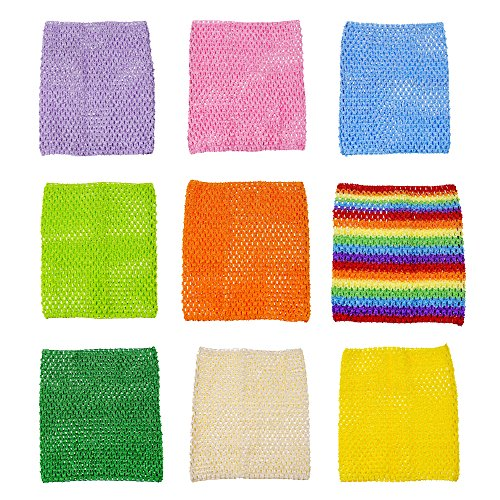 9inch Crochet Tutu Tops Unlined Tube Top Crochet headbands For 12-36 Months Kids 9pcs (9pcs include rainbow color) -