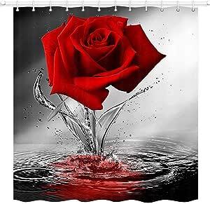 JAWO - Cortina de ducha con diseño de rosas y flores, color rojo y rosa en el agua, cortina de baño de tela con 12 ganchos, color negro y rojo, lavable a máquina, 150 x 170 cm