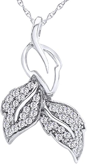 Wishrocks 14K Gold Over Sterling Silver Leaf Pendant Necklace for Womens Fashion Jewelry