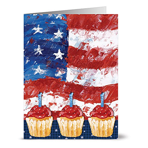 24 Note Cards Flag And Cupcakes Blank Red Envelopes Included 4th Of July Greeting