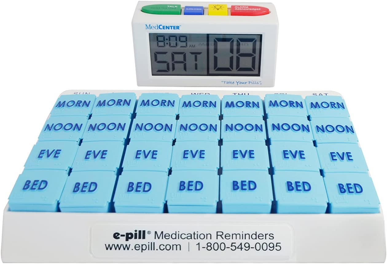 e-Pill 4 Alarm MedCenter Talk with 7 Day x 4 Compartments per Day Weekly Pill Organizer - Large: Health & Personal Care