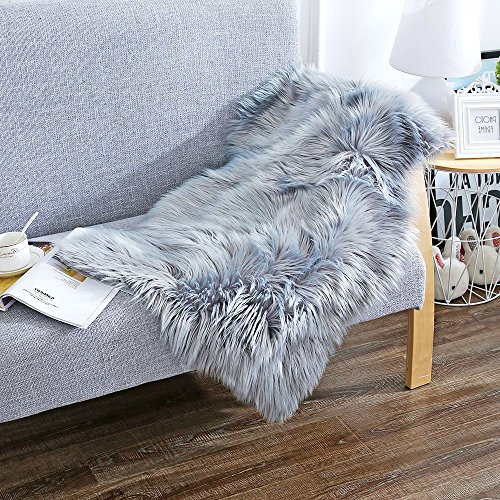 Soft Faux Sheepskin Chair Cover Rug Carpet with Super Fluffy Thick Fur for Bedroom Sofa Floor Gray 2ft x 3ft by Cuteshower