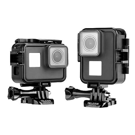 AuyKoo Marco de Montaje para GoPro Hero 2018/7/6/5 Black,Carcasa Protectora de Vertical y Horizontal con Clip de Montaje en Casco muñeca liberación ...