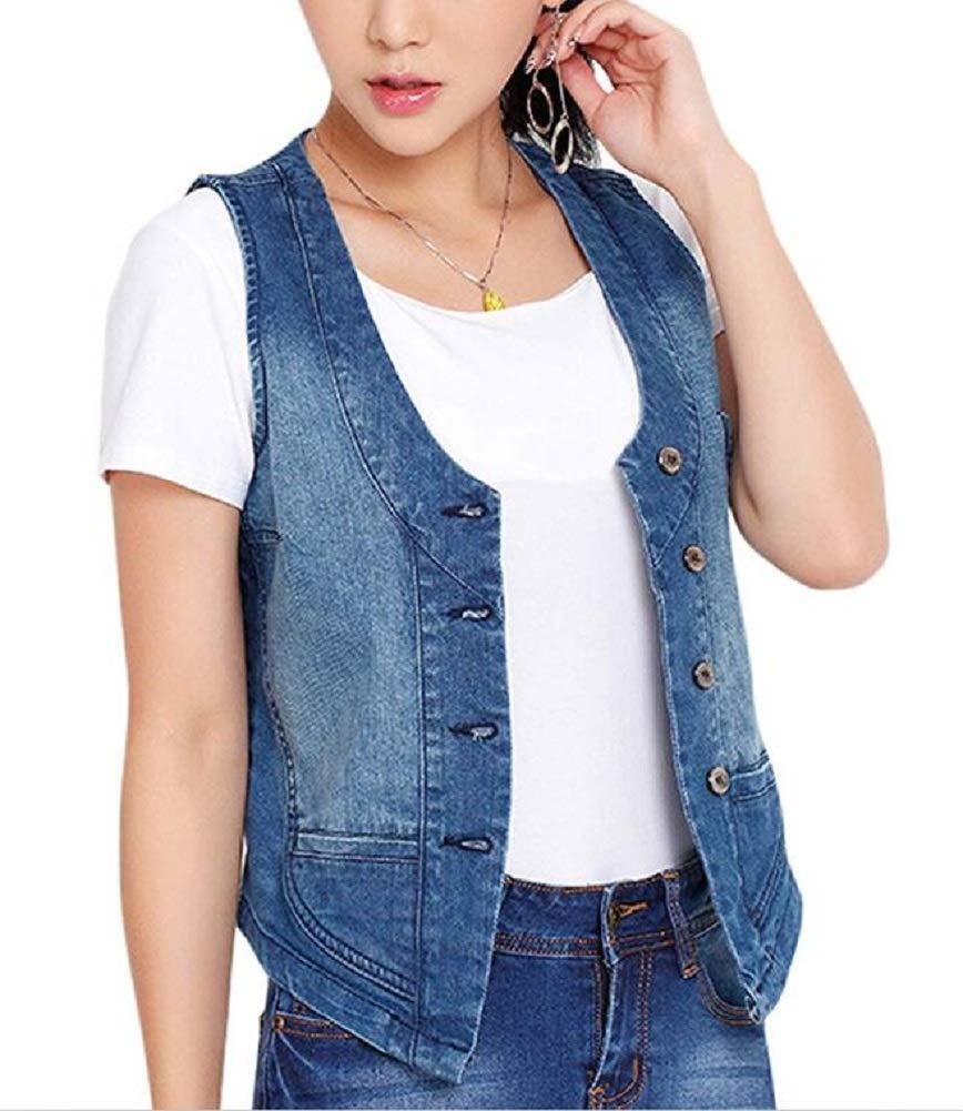 Lazutom Women's Stretchy Sleeveless V-Neck Button up Denim Waistcoat Vest