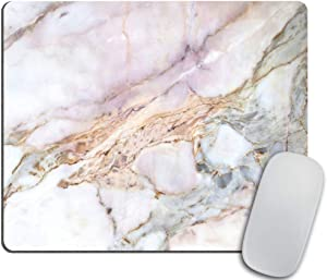 Office Mousepad Rectangle Mousepad White Gold Marble Pad Pink Marbled Mouse pad Rose Gold for her Marble Desk Gifts