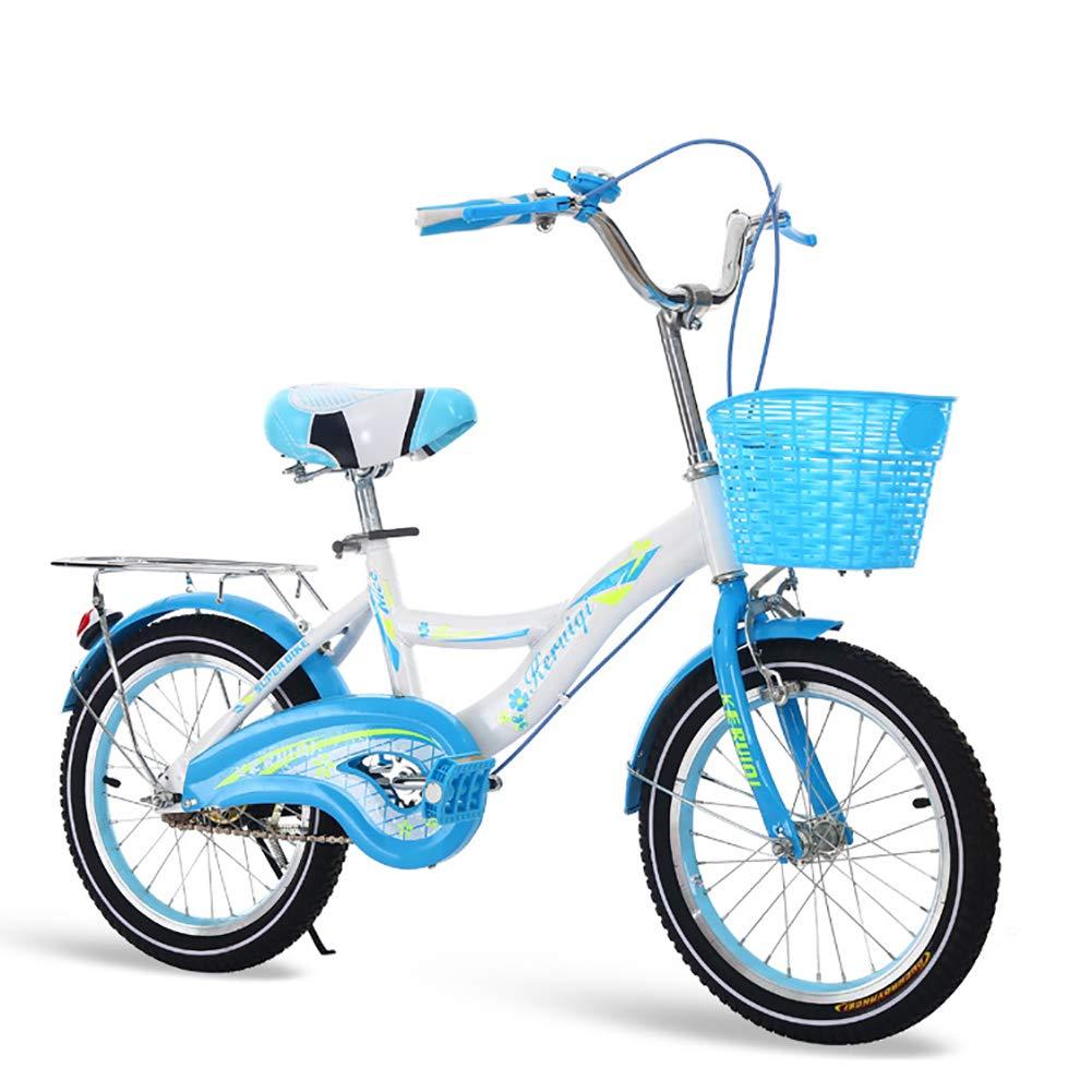 FJW Unisex Bici per Bambini 16 Pollici 18 Pollici 20 Pollici Acciaio al Carbonio Telaio Ultraleggero Alunno Bicicletta,blu,16Inch