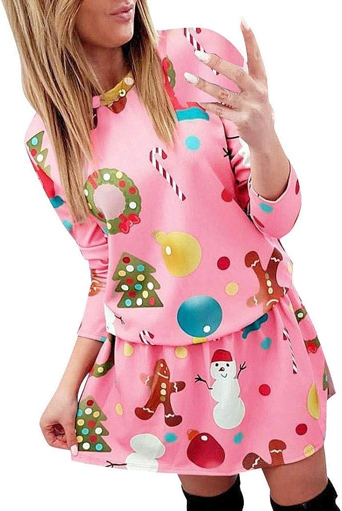 Vestidos Mujer Navidad Sudadera Jersey Camiseta de Manga Larga Invierno Navidad Impresión Fiesta Vestidos Corto Casual Cuello Redondo Vestido de Noche Suéter Sudadera Camisa Blusa vpass: Amazon.es: Ropa y accesorios
