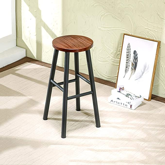 Prime Amazon Com Zhwgs Solid Wood Iron Art High Stool Bar Stool Machost Co Dining Chair Design Ideas Machostcouk