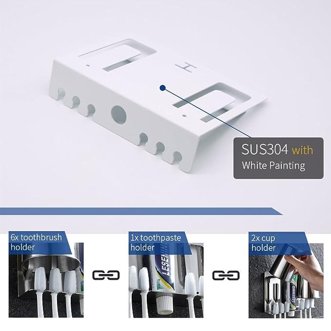 BESY Kit de soporte para cepillos de dientes multifunción adhesivo, soporte para pasta de dientes, soporte para vasos, soporte de pared libre de taladros ...