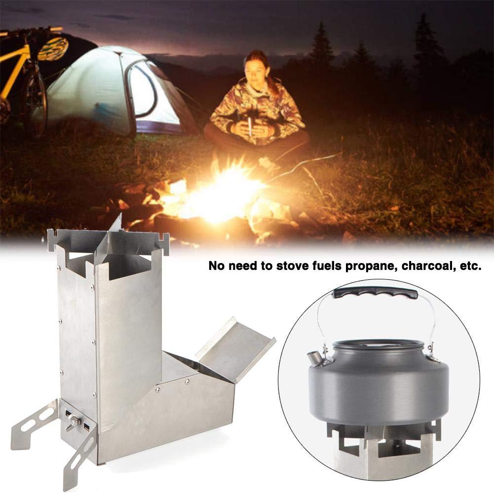 Funsquare R/échaud De Camping Camping Rocket Stove avec Poign/ée Camping Survival Gear Po/êle /À Bois Auto-alimentant