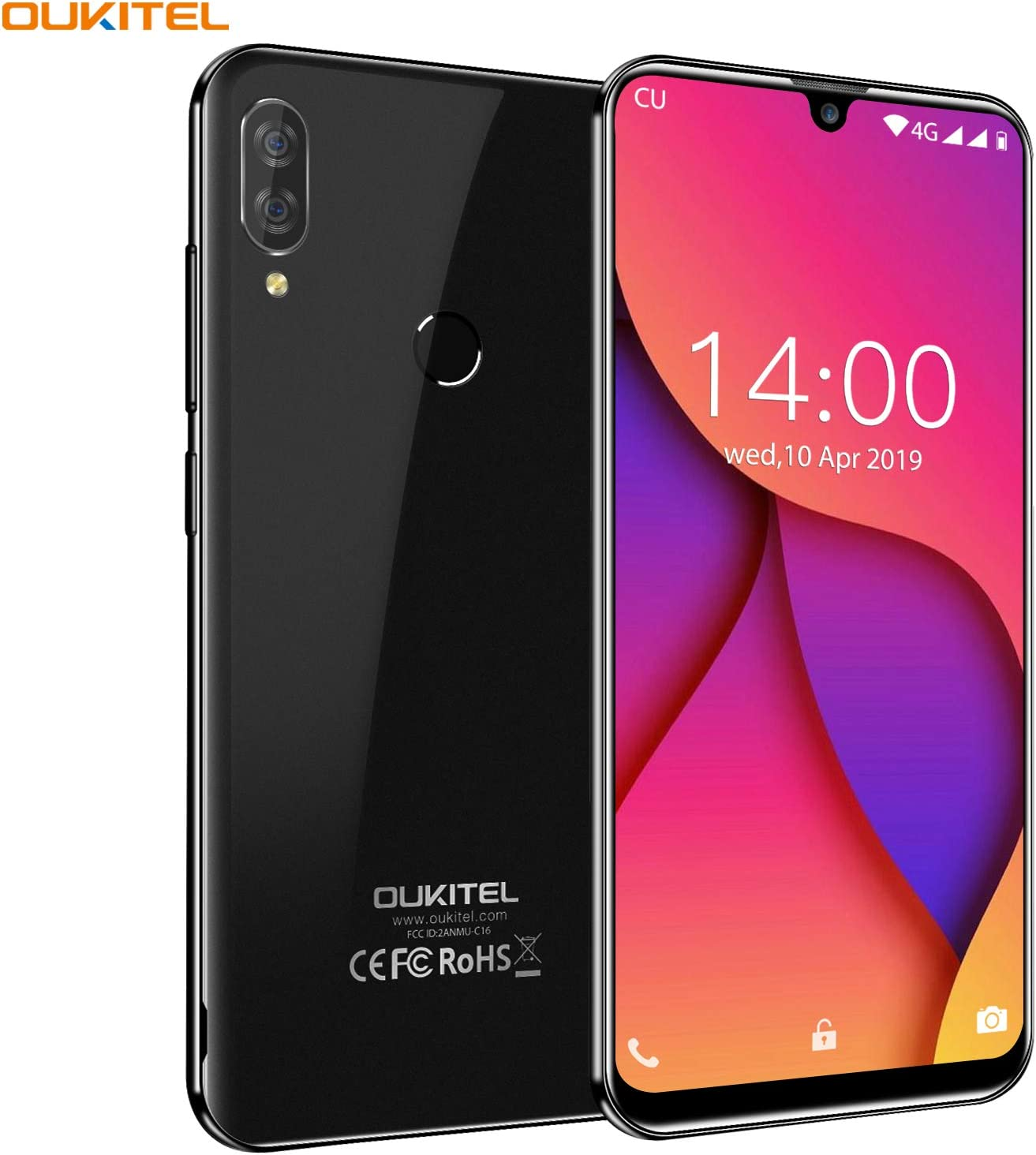 OUKITEL C16 Pro Dual 4G Smartphone Libre, Android 9.0 Quad-Core ...