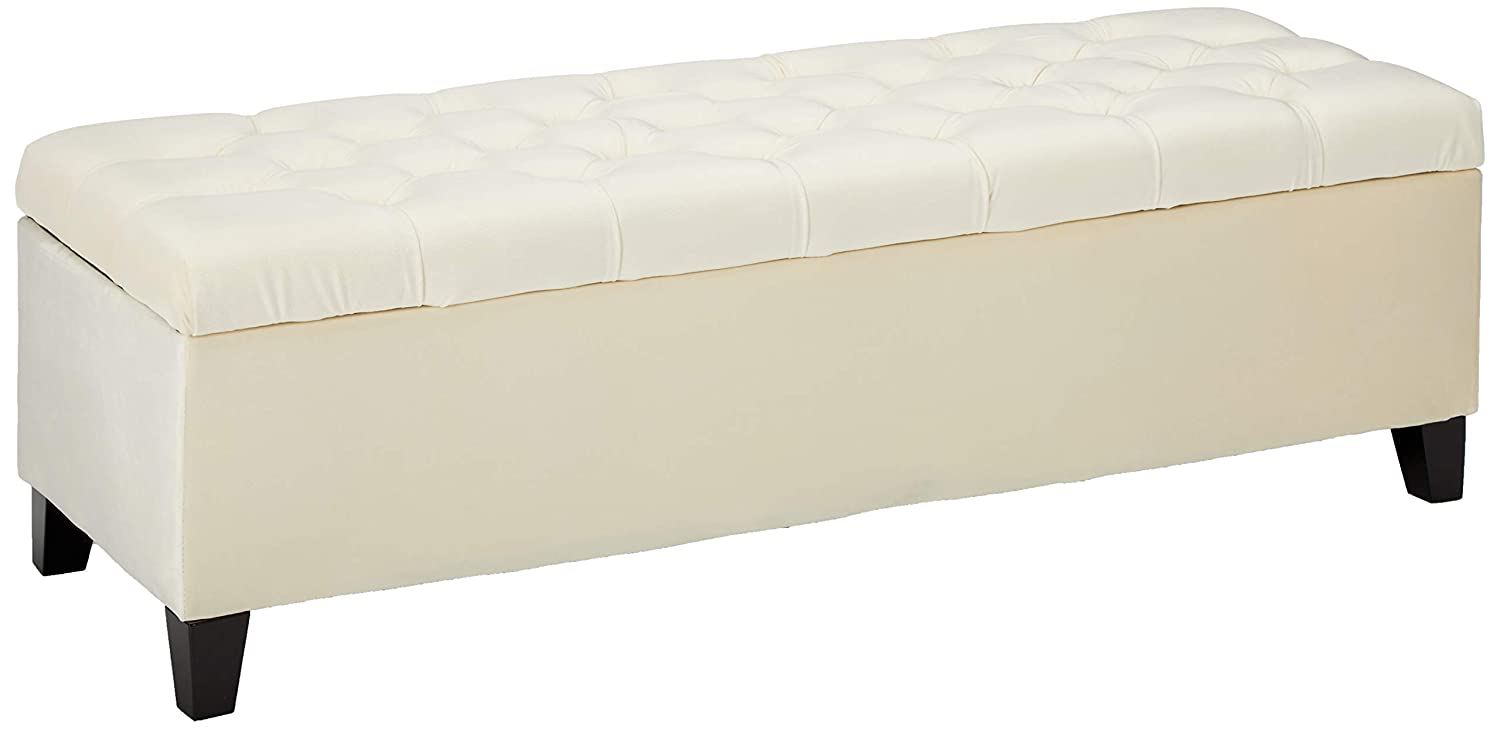 "Christopher Knight Home Living Charleston Ivory Tufted Velvet Storage Ottoman, 17.25""D x 50.75""W x 16.00""H"