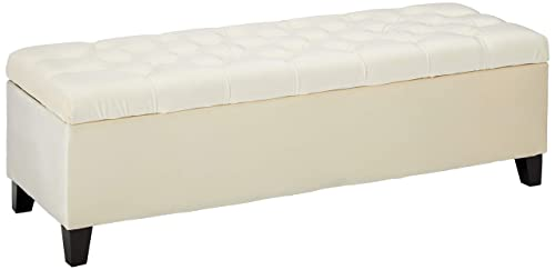 Christopher Knight Home Living Charleston Ivory Tufted Velvet Storage Ottoman, 17.25 D x 50.75 W x 16.00 H