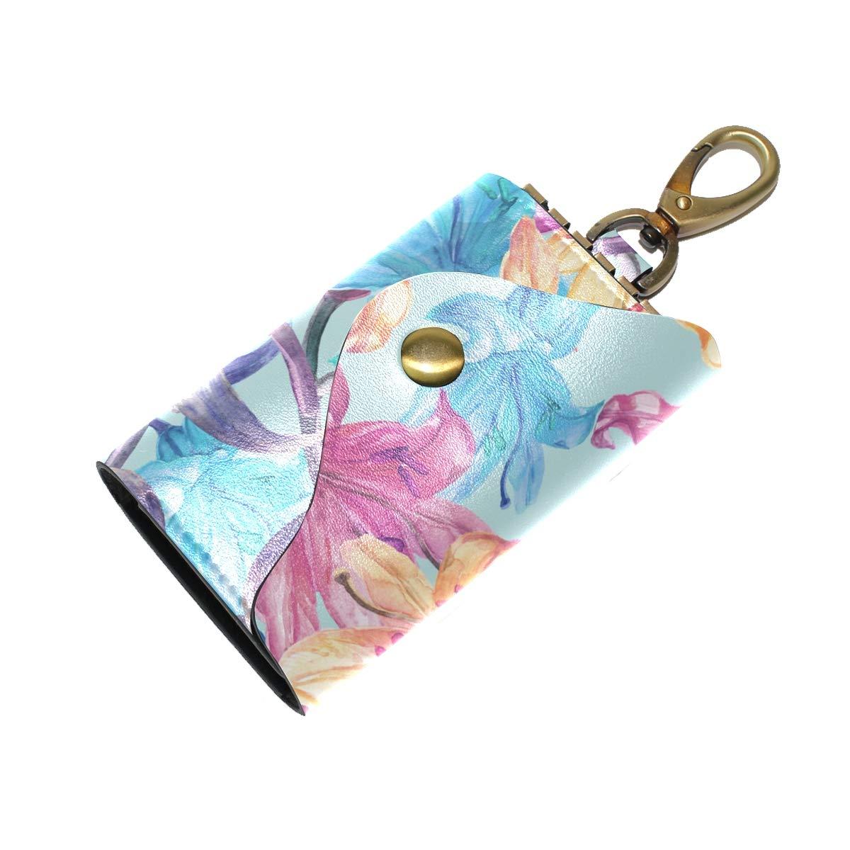 KEAKIA Lily Flowers Pattern Leather Key Case Wallets Tri-fold Key Holder Keychains with 6 Hooks 2 Slot Snap Closure for Men Women