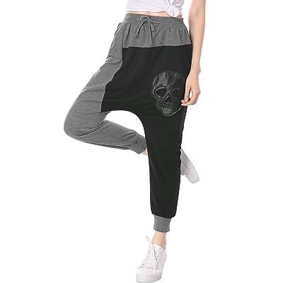 Allegra K Women's PU Skull Hippie Dance Baggy Drape Harem Pants