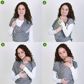Lictin Fular Portabebés Elástico Gris Portador de Bebé ;Pañuelo ...