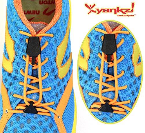 Ibungee Laces - Yankz Surelace Elastic Shoe Laces, 2 point system to lock your laces (No Tie) (Flourescent Orange Laces with Black Locks)