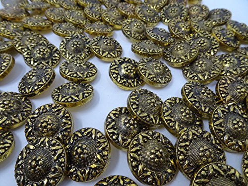 JumpingLight Vintage Antique Gold Black Crest Shank Buttons 25mm Lot of 6 B21-2 Perfect for Crafts, Scrap-Booking, Jewelry, Projects, Quilts ()