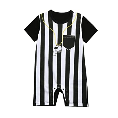 Dinlong Newborn Baby Boys Girls Striped Short Sleeve Football Soccer Referee Romper Jumpsuit with Snaps Clothes