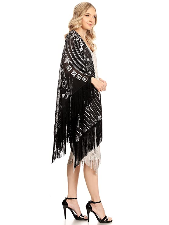 Anna-Kaci Womens Oversized Hand Beaded and Sequin Evening Shawl Wrap with Fringe: Amazon.co.uk: Clothing