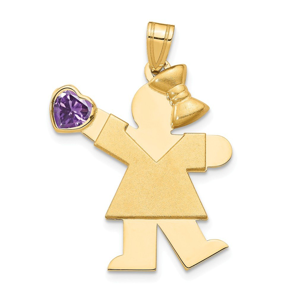 The Kids Collection 14K Yellow Gold Girl with Purple CZ February Birthstone Charm Pendant