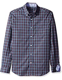 Nautica Men's Long Sleeve Wrinkle Resistant Small Ensign Plaid Shirt