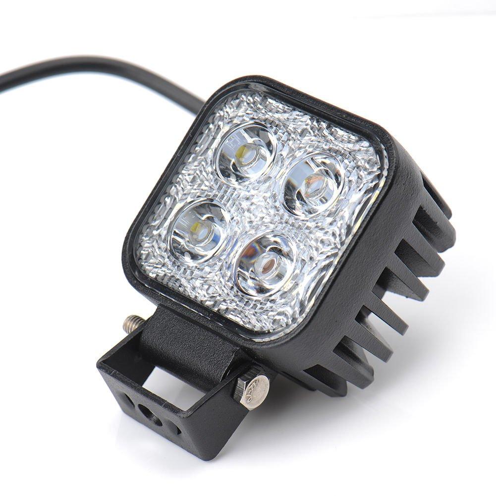 Ksruee 2X12W LED Phare Feu Arriè re pour Automobile Lampe Floodlight Lumiè re Froide Travaux Lumiè res É tanche IP67 Carré