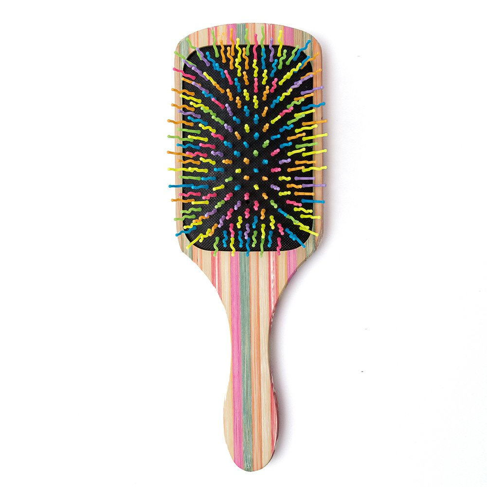 WINSUN Natural Bamboo Hair Brush, Natural Rainbow Bamboo Paddle Hair Brush with Colorful Nylon Pins, Good Massage and Anti Static Detangling Hair Brush for Woman, Girls and Kids, for All Hair Types.