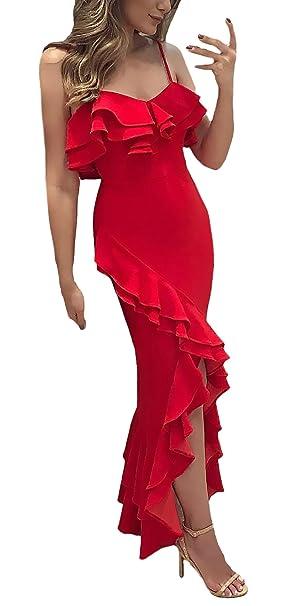 Vestidos De Fiesta Mujer Largo Elegante Tirantes V Cuello con Volantes Ajustados Fiesta Dresses Señoras Vestido De Noche Color Sólido Asimetricas Jovenes ...